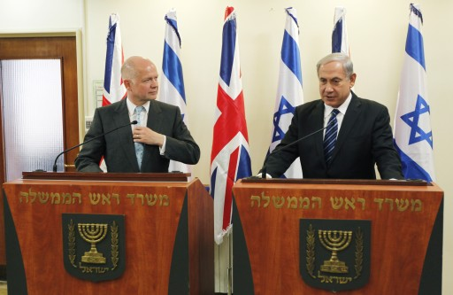 FILE  - Britain's Foreign Secretary William Hague (L) stands next to Israeli Prime Minister Benjamin Netanyahu (R) as they deliver joint statements before their meeting in Jerusalem, 23 May 2013.  EPA/RONEN ZVULUN / POOL
