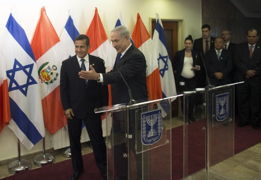 FILE - Israel's Prime Minister Benjamin Netanyahu (C) gestures as he stands next to Peru's President Ollanta Humala after their joint statements in Jerusalem, Israel, 17 February 2014. EPA/RONEN ZVULUN / POOL