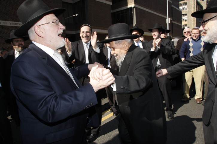 Rav Hershel Schachter and Rav Yankelewitz celebrate at 2010 RIETS Chag HaSemikhah<br />