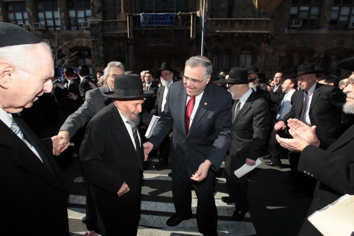R' Yankelewitz and YU President Richard M. Joel celebrate at RIETS Chag HaSemikhah