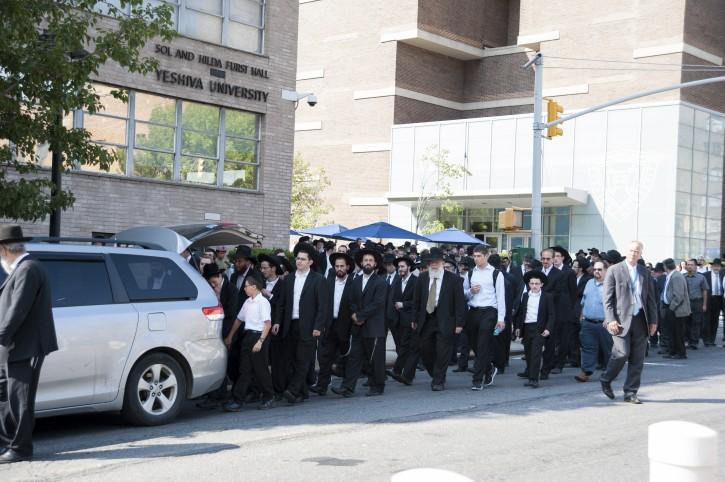 Levaya procession down Amsterdam Avenue on Yeshiva University's Wilf Campus on Aug. 20, 2014.