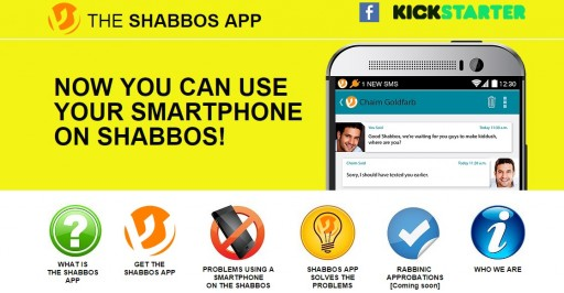 Screenshot of the web page of shabbosapp.com