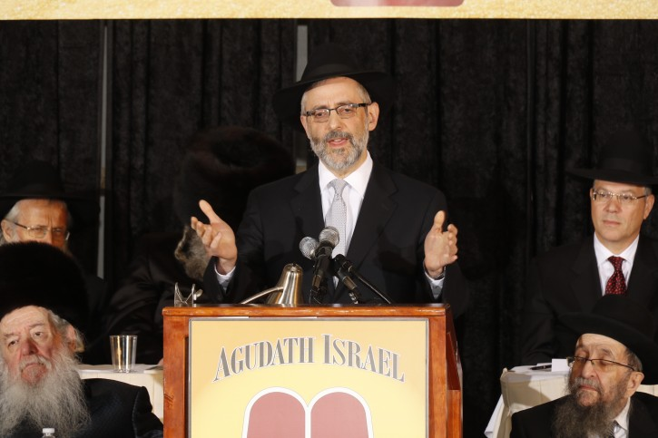 Rabbi Chaim Dovid Zwiebel addressing the convention Nov. 15, 2014