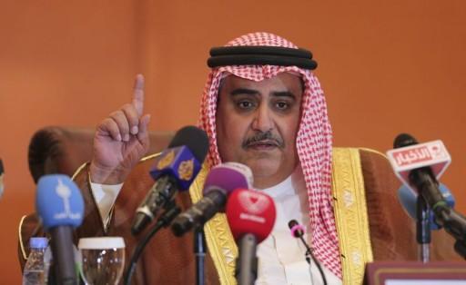 FILE - Bahrain's Foreign Minister Sheikh Khaled bin Ahmed al-Khalifa addresses a news conference. Reuters