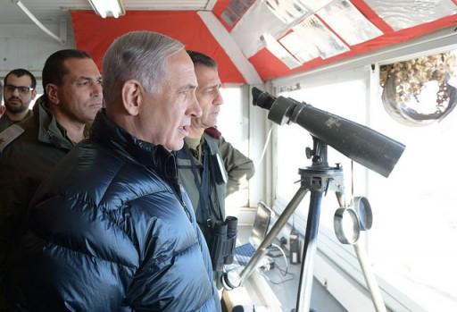 Prime Minister Benjamin Netanyahu and Defense Minister Moshe Yaalon visit the IDF Hermon Brigade base.