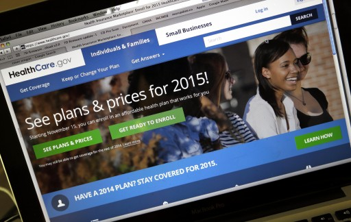 FILE - In this Nov. 12, 2014 file photo, the HealthCare.gov website is seen in Portland, Ore. (AP Photo/Don Ryan)
