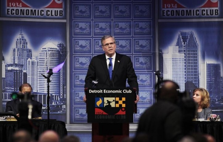 "Former Florida Governor Jeb Bush addresses the Detroit Economic Club about his ""Reform Conservative Agenda"" in Detroit, Michigan, February 4, 2015.REUTERS/Rebecca Cook"