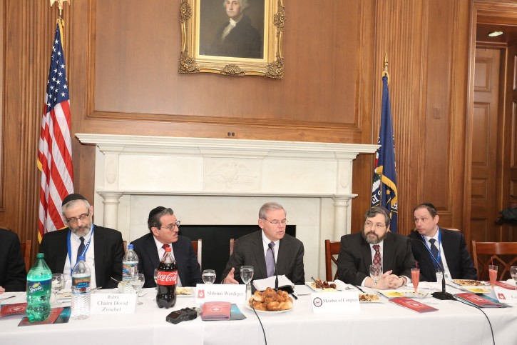 New Jersey Senator Bob Menendez at a legislative event On Feb, 11, 2015 in Washington DC with members of Agudath Israel of America's national board of trustees. (Shmuel and Dov Lenchevsky)