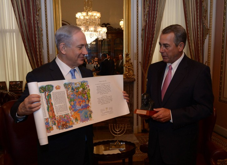 Prime Minister Benjamin Netanyahu gives for House Speaker John Boehner a Megillah. House Speaker Boehner gave Prime Minister Netanyahu a bust of Winston Churchill. Photo: Amos Ben Gershom GPO