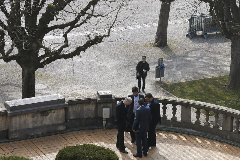 Iran S Nuclear Chief Ali Akbar Hi Bottom L And Other Iranian Negotiators Talk Outside