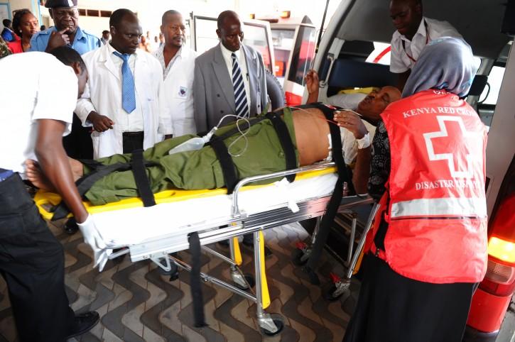 Medics help an injured person at Kenyatta national  Hospital in Nairobi, Kenya, Thursday, April , 2, 2015 , after being airlifted from Garissa after an attack by gunmen at Garissa University College in northeastern Kenya on Thursday morning.  AP