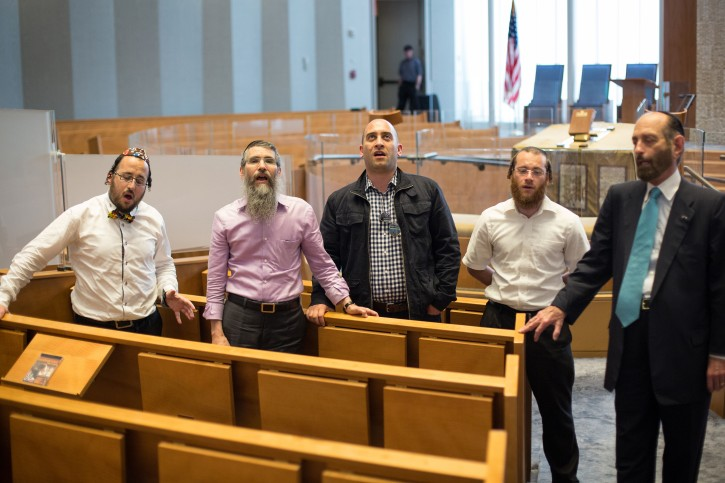 """Cantors Lipa Shmeltzer, left, Avraham Fried, Netanel Hershtik, Yanky Lemmer and Joseph Malovaney burst into song during a visit to the Lincoln Square Synagogue in Manhattan, NY May 27, 2015. The five cantors are set to perform during June 16 in Central Park during the concert """"Yiddish Soul: A Concert of Cantorial and Chassidic Music"""" as part of the KulturfestNYC series.(Kevin Hagen/VINnews)"""