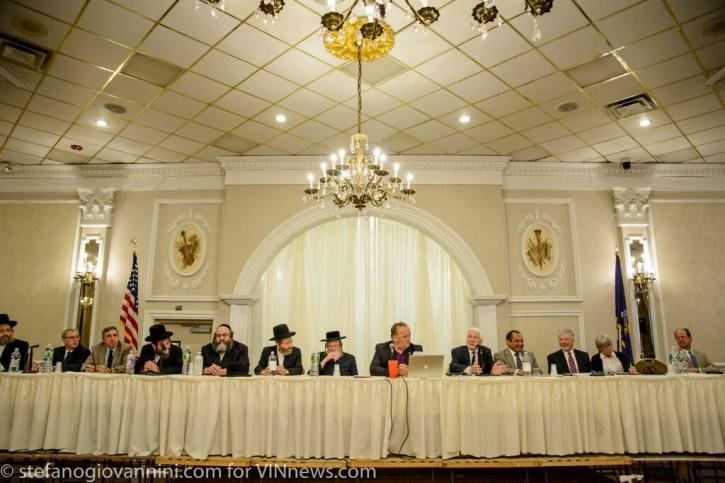 FILE - Board members of Kiryas Joel and Town Of Monroe at the annexation hearing last week.