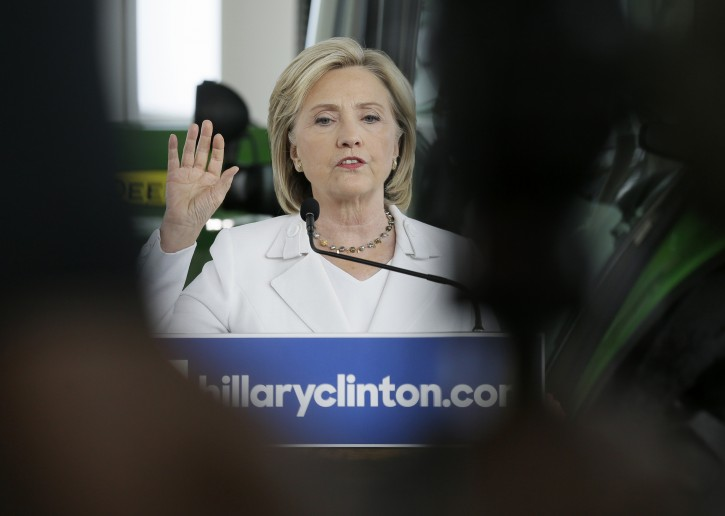 Democratic presidential candidate Hillary Rodham Clinton gestures while speaking at a news conference at the Des Moines Area Community College, Wednesday, Aug. 26, 2015, in Ankeny, Iowa. (AP Photo/Charlie Neibergall)