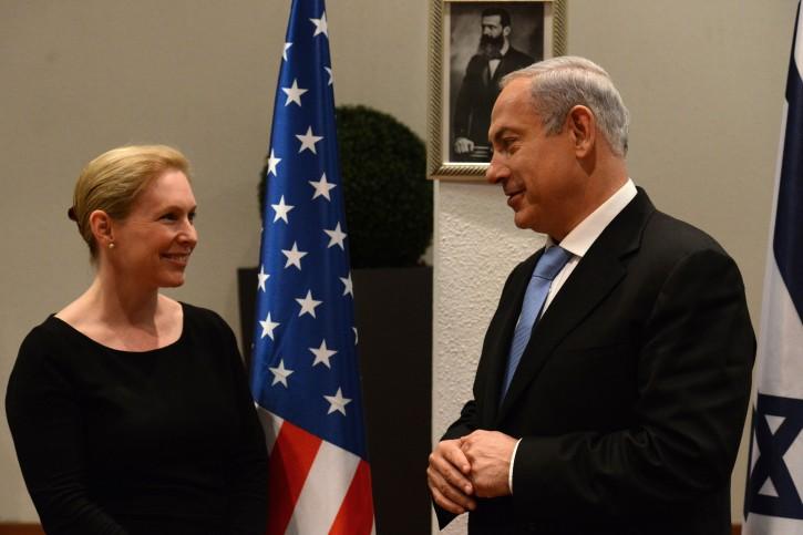 FILE - Israeli Prime Minister Benjamin Netanyahu meets with a delegation of US senators led by US Senator Kirsten Gillibrand in PM Netanyahu's office in Tel Aviv. April 04, 2013. Photo by Kobi Gideon / GPO/FLASH90