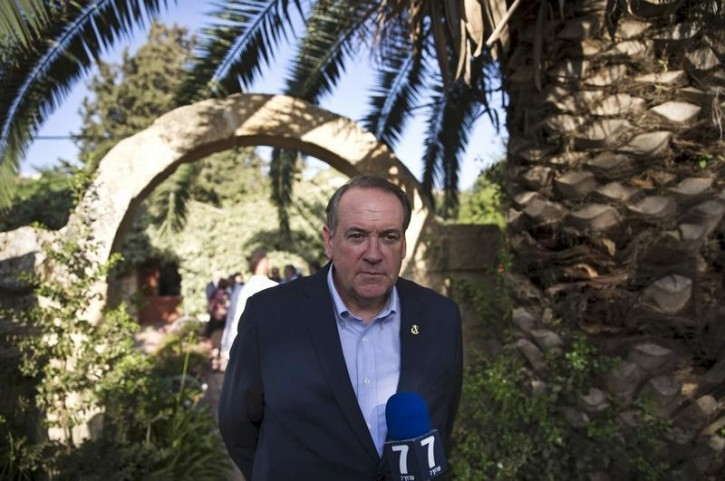Mike Huckabee, Republican presidential candidate and former Arkansas governor, takes part in a news conference near the West Bank Jewish settlement of Shiloh, August 18, 2015. REUTERS/Ronen Zvulun