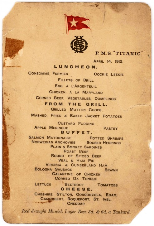 """This undated photo provided by Lion Heart Autographs shows the Titanic's last lunch menu, which is going to auction and is estimated to bring $50,000 to $70,000. The menu - saved by a passenger who climbed aboard the so-called """"Money Boat"""" before the ocean liner went down - will be sold by Lion Heart Autographs, an online New York auctioneer, along with two other previously unknown artifacts from Lifeboat 1 on Sept. 30, 2015. The auction marks the 30th anniversary of the wreckage's discovery at the bottom of the Atlantic Ocean. (Lion Heart Autographs via AP)"""
