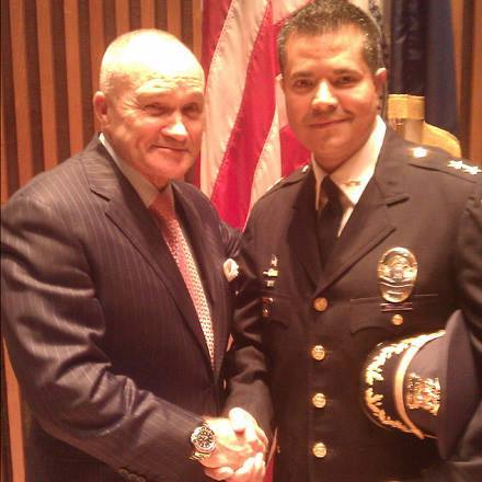 FILE - Richard Vasquez the Woodbury Police Chief is seen in a 2012 photo with Former NYPD Police commissioner Raymond Kelly