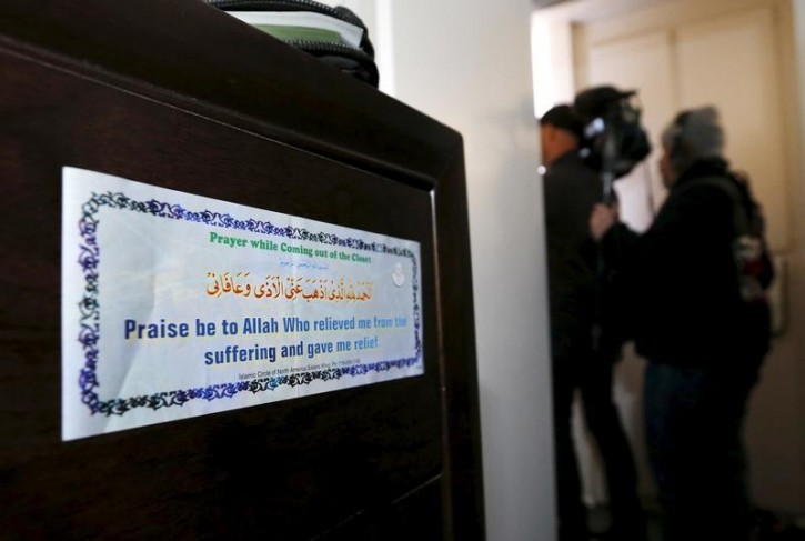 FILE - A religious sticker is shown inside the home of suspects Syed Rizwan Farook and Tashfeen Malik in Redlands, California December 4, 2015. Reuters