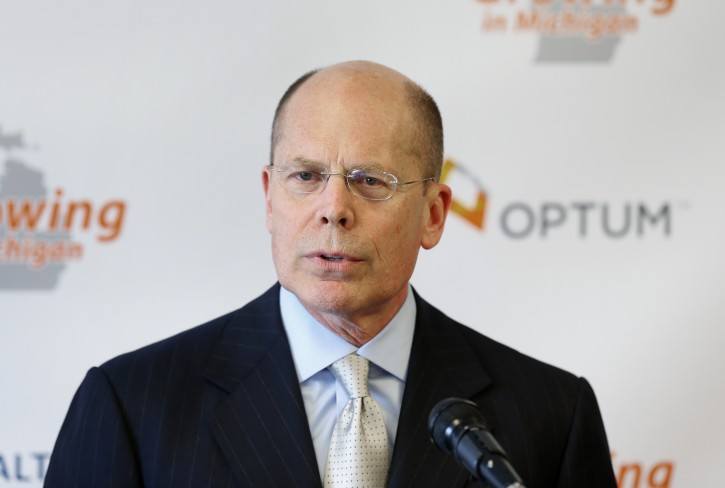 FILE - In this April 29, 2014 file photo, Stephen Hemsley, president and CEO of  UnitedHealth Group, announces 75 jobs are being created within the company's subsidiary, Optum, which works in health care services and technology support, in Southfield, Mich.  (AP Photo)