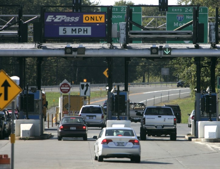 FILE - Vehicles enter the New York State Thruway in Albany, N.Y., Monday, Sept. 24, 2007.  (AP Photo/Mike Groll)