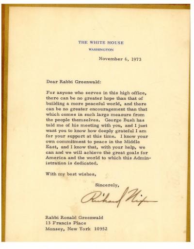 Letter from U.S. President Richard Nixon to Rabbi Greenwald.