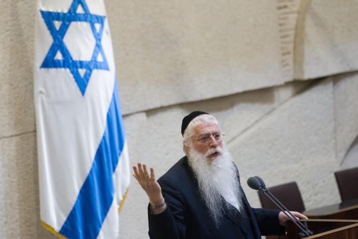 FILE - United Torah Judaism parliament member Meir Porush adresses the Israeli parliament on November 16, 2015. Photo by Miriam Alsterl/Flash90