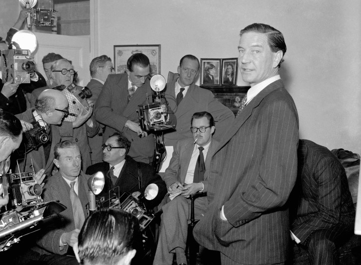 FILE - In this file photo dated Nov. 8, 1955, former British diplomat who was at that time accused of spying for Russia, during a press conference at his parents' home in London on Nov. 8, 1955.   (AP Photo/FILE)