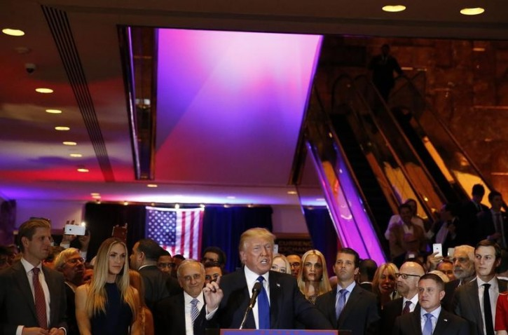 Republican U.S. presidential candidate Donald Trump speaks at his New York presidential primary night rally in Manhattan, New York, U.S., April 19, 2016.    REUTERS/Shannon Stapleton