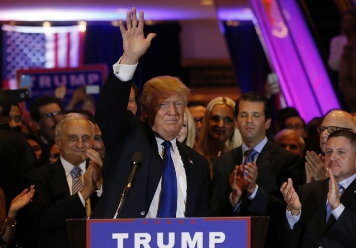 Republican U.S. presidential candidate Donald Trump waves as he speaks at his New York presidential primary night rally in Manhattan, New York, U.S., April 19, 2016.   REUTERS/Shannon Stapleton