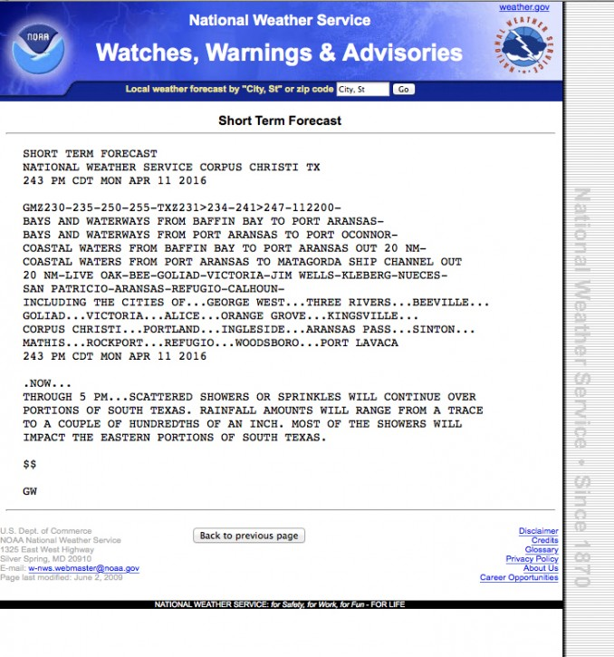 This image provided by the National Weather Service shows a National Weather Service advisory in all capital letters. For more than a century, the National Weather Service has screamed its forecasts in all capital letters. But in the social media age all capitals are considered yelling, so next month federal meteorologists are lowering their voices and their letters, except in dire emergencies.