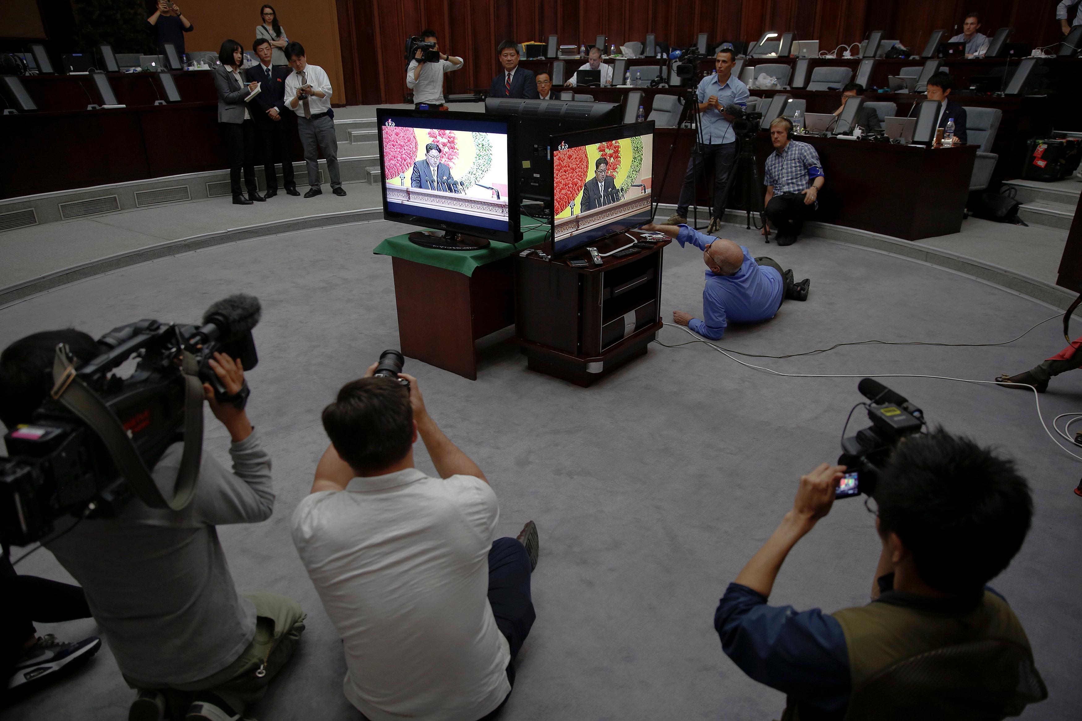 Pyongyang - Reporters In N. Korea For Congress Get Wire Factory Instead