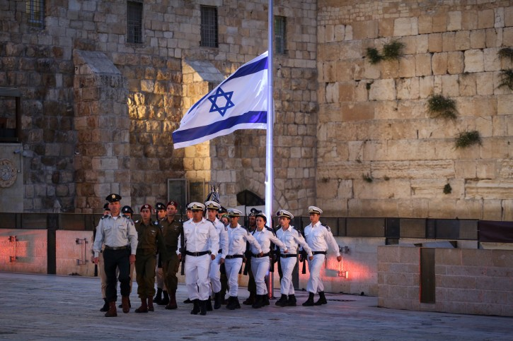 Israeli attend a Memorial Day ceremony at the Western Wall, Judaism's holiest site, in Jerusalem's Old City, May 10, 2016 as Israel commemorates its fallen soldiers. Photo by Hadas Parush/Flash90