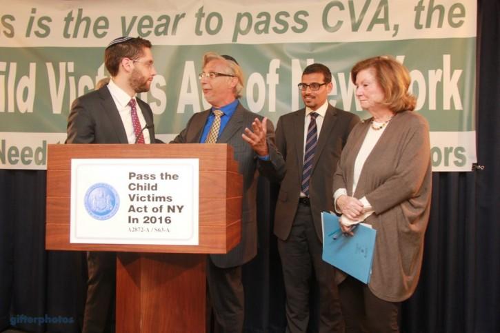 (L-R) Rabbi Ari Hart of Uri L'Tzedek, Sex victims activists Mark Meyer Appel, Manny Waks, Assemblywoman Margaret Markey (Shimon Gifter/VINnews.com)