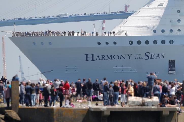 The Harmony of the Seas ( Oasis 3 ) class ship leaves the STX Les Chantiers de l'Atlantique shipyard site in Saint-Nazaire, France, May 15, 2016. REUTERS/Stephane Mahe