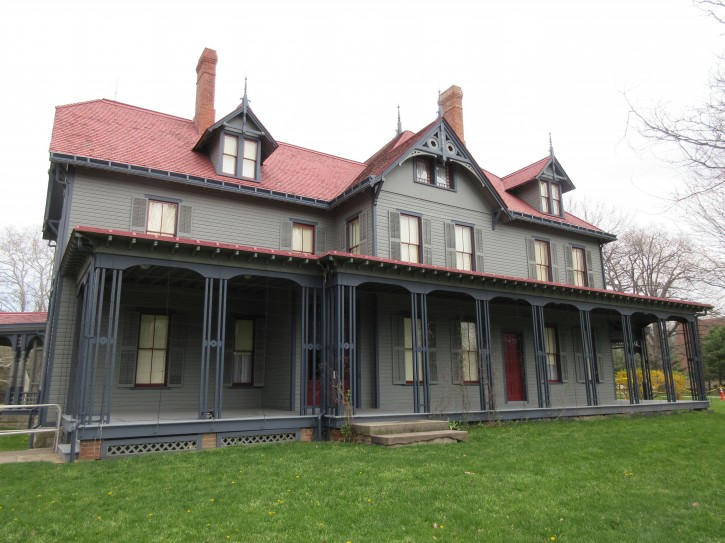 This April 22, 2016 photo shows the James A. Garfield National Historic Site in Mentor, Ohio. President Garfield lived here with his wife and five children. Garfield was nominated in 1880 at a brokered convention. (AP Photo/Beth J. Harpaz)