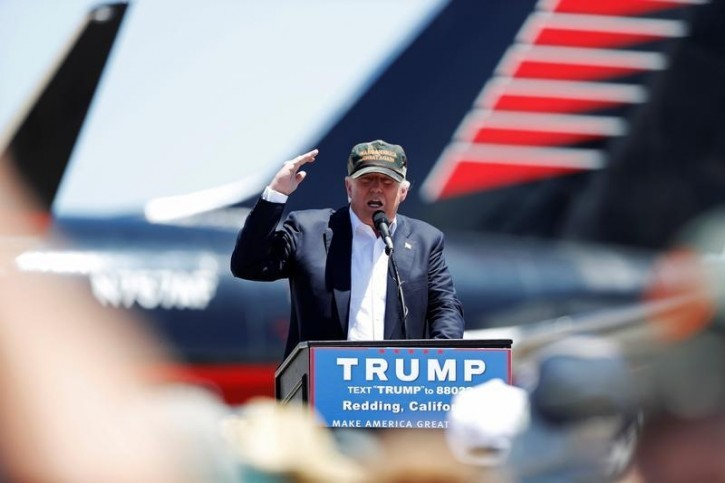 Republican U.S. presidential candidate Donald Trump speaks during a campaign rally in Redding, California, U.S. June 3, 2016. REUTERS/Stephen Lam