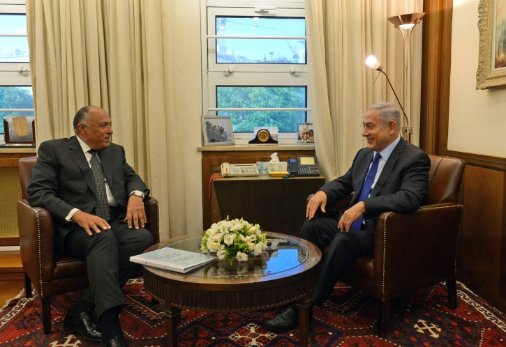 Prime Minister Benjamin Netanyahu meets with Egypt's Foreign Minister Sameh Shoukry at the Prime Minister's office in Jerusalem, on July 10, 2016, during a visit to Israel for the first time in nearly a decade. Foreign Minister Shoukry came to meet Netanyahu to support the peace process between Israel and the Palestinians. Photo by Haim Zach/GPO
