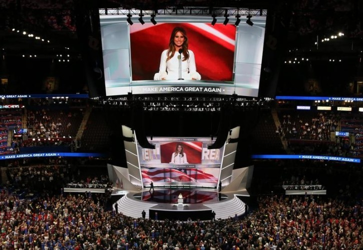 Melania Trump, wife of Republican U.S. presidential candidate Donald Trump, speaks at the Republican National Convention in Cleveland, Ohio, U.S. July 18, 2016.   REUTERS/Aaron Josefczyk