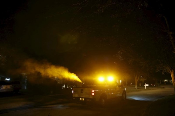 John Wetjen, senior crew leader with Hillsborough County mosquito control sprays against mosquitos in Hillsborough County, Florida, February 2, 2016.  Reuters