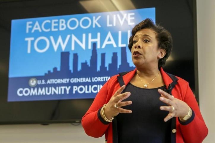 Attorney General Loretta Lynch at a Facebook Live Town Hall meeting on the Playa Vista campus, in Playa Vista, California, U.S., June 30, 2016. REUTERS