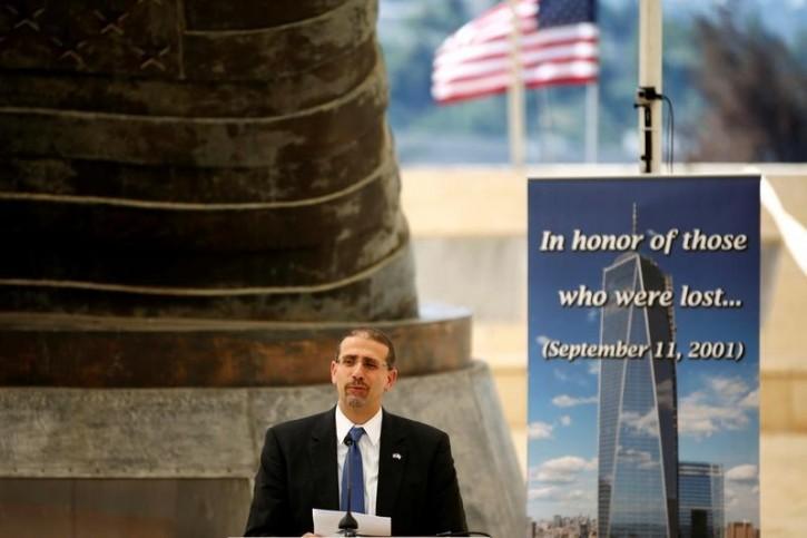 U.S. Ambassador to Israel Daniel Shapiro speaks during a memorial event marking the 15th anniversary of September 11, 2001 attacks in the U.S., at the 9/11 Living Memorial Plaza in Jerusalem September 11, 2016. REUTERS/Ronen Zvulun