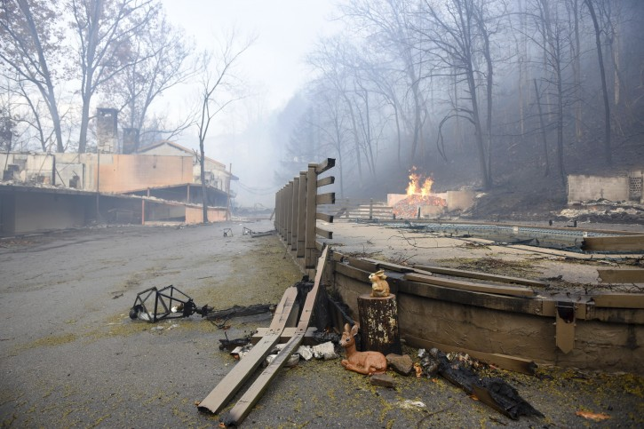 Gatlinburg tn 3 killed after wildfires scorch tourist for Rocky waters motor inn fire damage