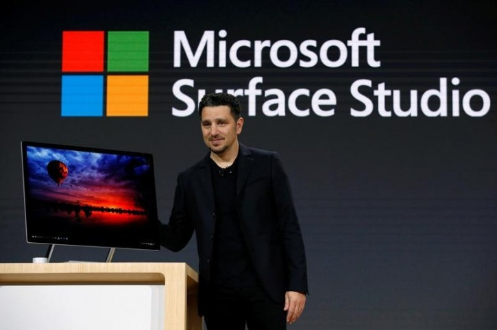 FILE - Panos Panay, Corporate Vice President for Surface Computing holds the new Microsoft Surface Studio computer at a live event in the Manhattan borough of New York City, October 26, 2016. REUTERS/Lucas Jackson