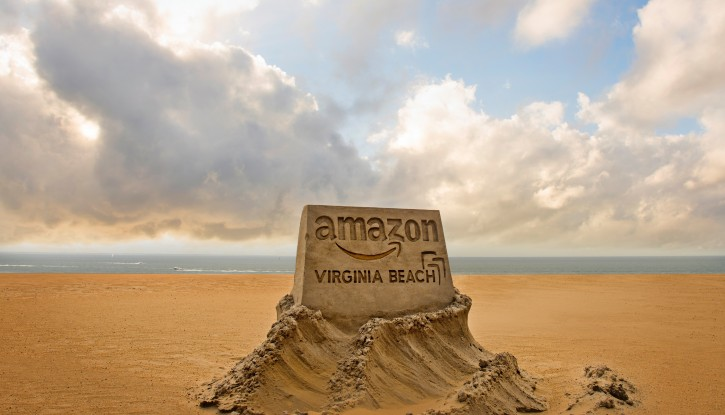 This image provided by the City of Virginia Beach, Va., shows a sand sculpture the city is using to promote its application to become Amazon's second headquarters. (Courtesy of the City of Virginia Beach via AP)