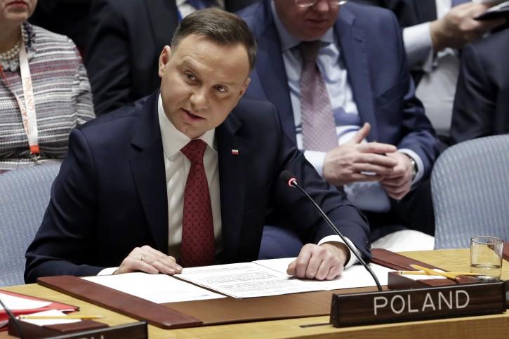 Poland's President Andrzej Duda addresses the United Nations Security Council, Thursday, Jan. 18, 2018. (AP Photo/Richard Drew)