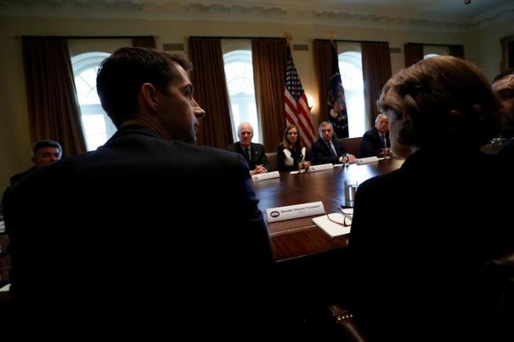 FILE - U.S. Senator Tom Cotton (R-AR) speaks as U.S. President Donald Trump holds a bipartisan meeting with legislators on immigration reform at the White House in Washington, U.S. January 9, 2018.  REUTERS/Jonathan Ernst