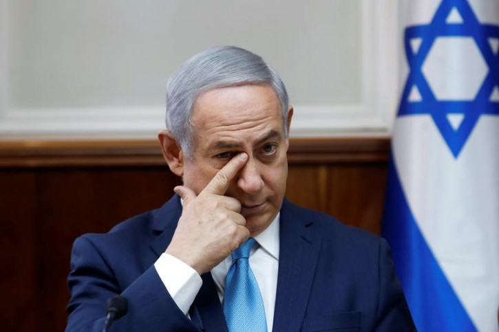 Israeli Prime Minister Benjamin Netanyahu attends the weekly cabinet meeting at the Prime Minister's office in Jerusalem February 11, 2018. REUTERS/Ronen