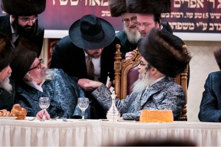 FILE - Senator Simcha Felder seen with Satmar Rebbe Rabbi Aron Teitelbaum