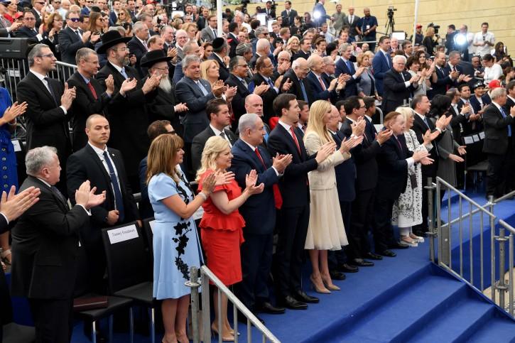 Israeli Prime Minister Benjamin Netanyahu, Senior White House Advisers Jared Kushner and Ivanka Trump and Israeli President Reuven Rivlin applaud during the dedication ceremony of the new U.S. embassy in Jerusalem, May 14, 2018.
